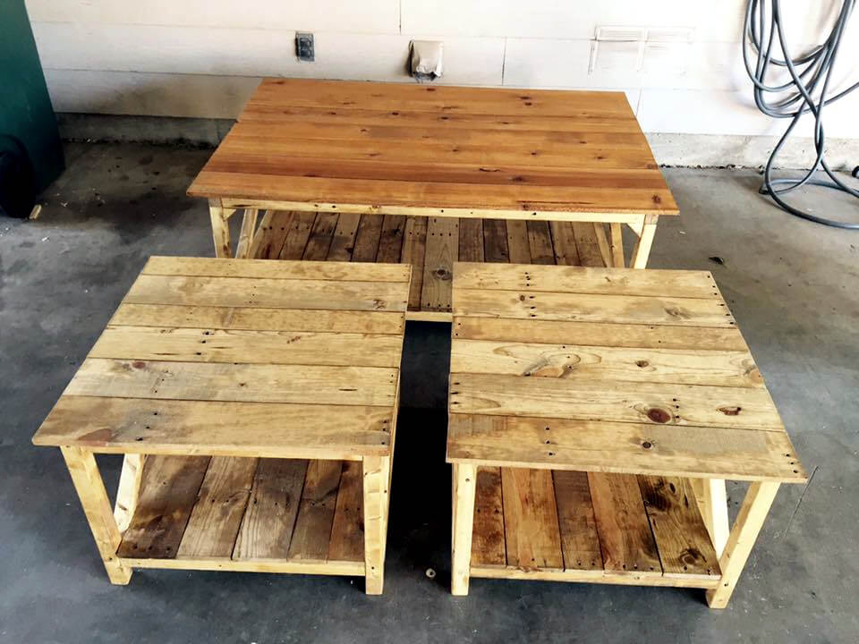 handcrafted wooden pallet table set