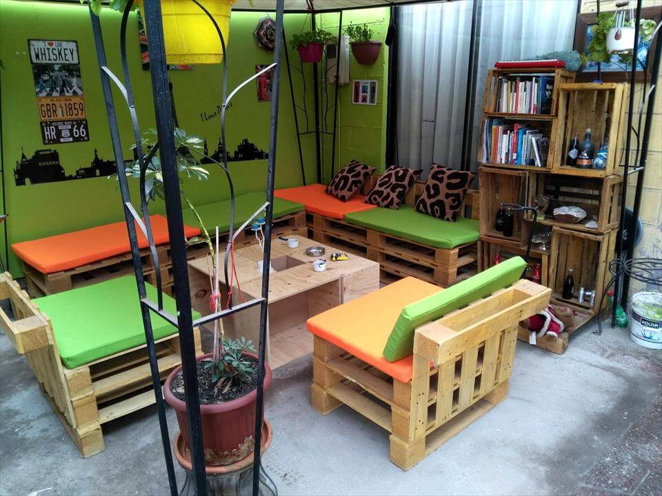low-cost wooden pallet terrace siting furniture