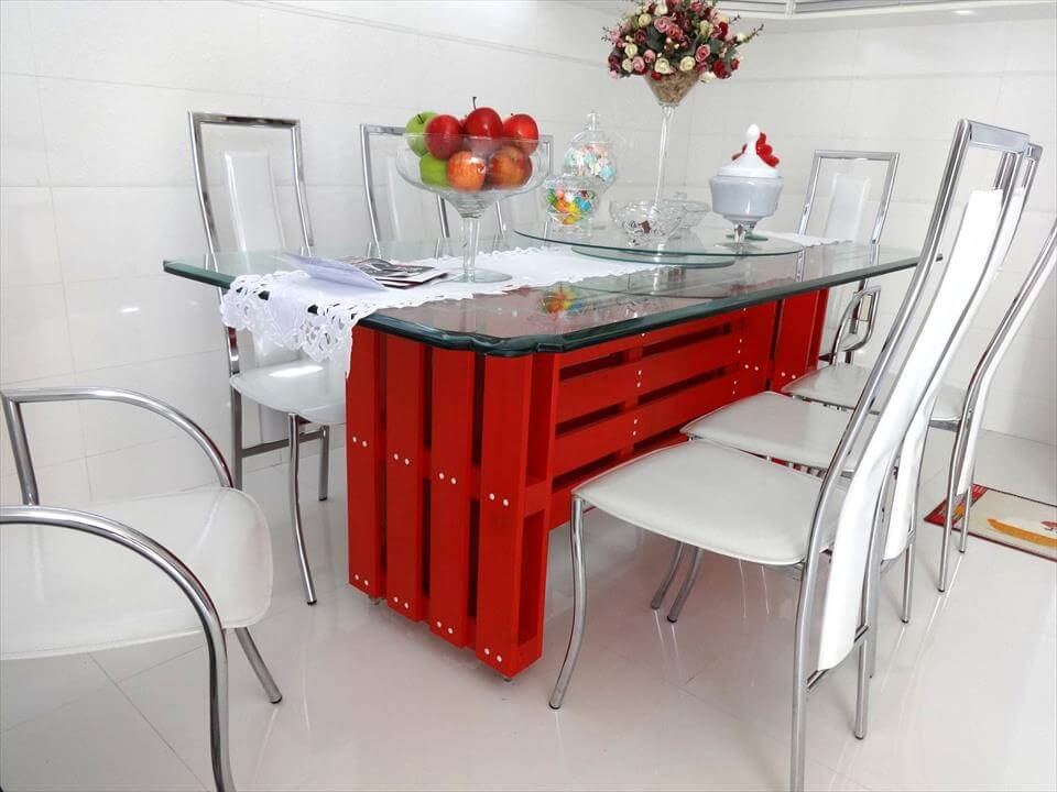 red painted pallet modern dining table with glass top