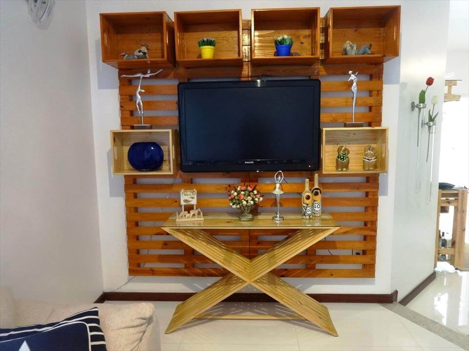 wooden pallet media console and media wall