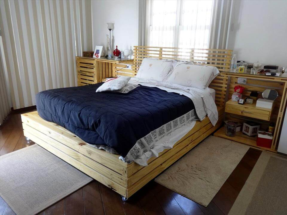 low-cost wooden pallet bed with nightstands