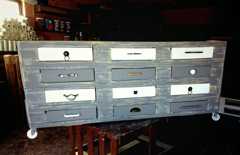 Re-purposed pallet chest of drawers