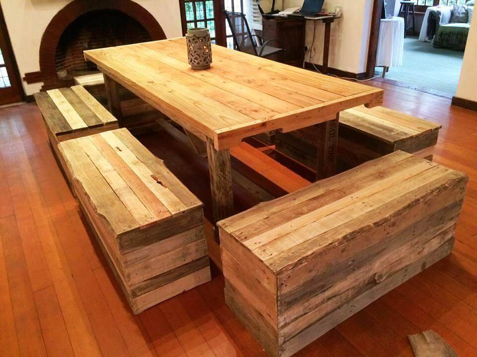 big size dining set out of pallets