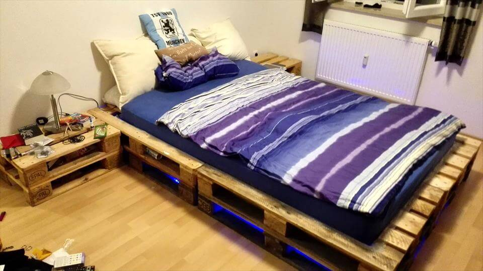cute pallet bed with under lights