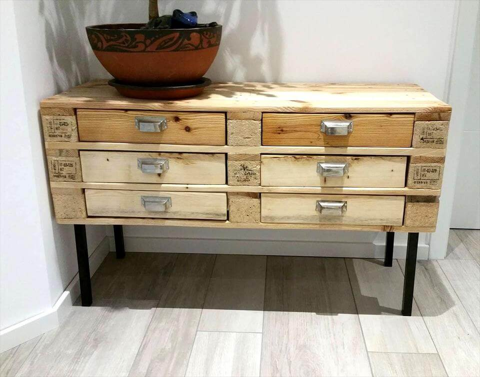 cute and small pallet chest of drawers