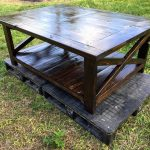 DIY Rustic Pallet Coffee Table with Cross Design at Sides