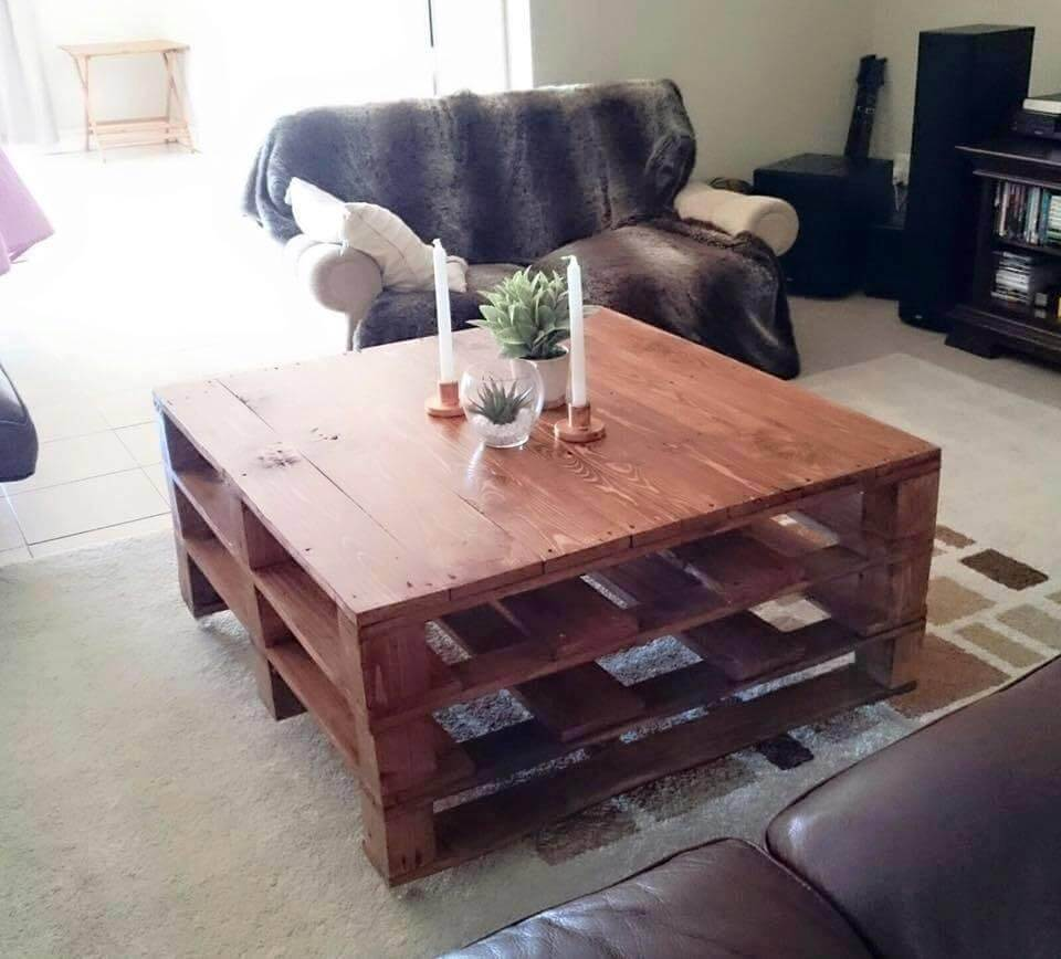 square shape simple pallet coffee table