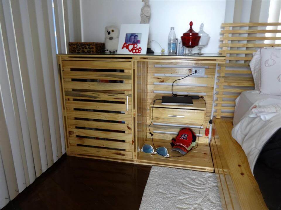 pallet-made nightstand with mobile charging station and storage cabinet