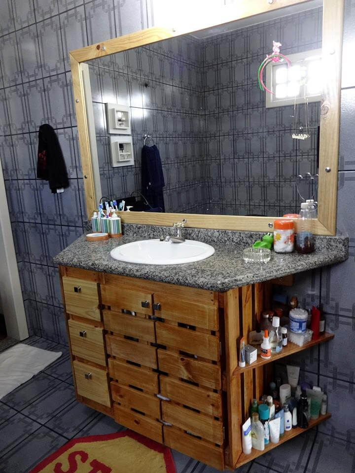 wall mounted pallet vanity with drawers and built in storage shelves