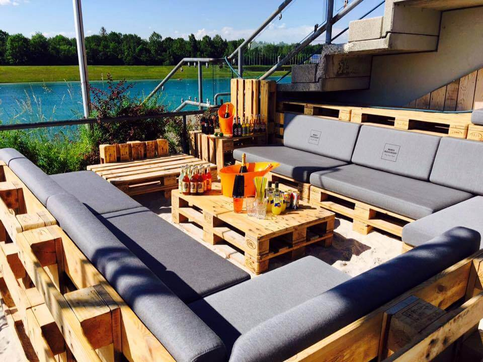 cushioned XL pallet deck and patio sitting set