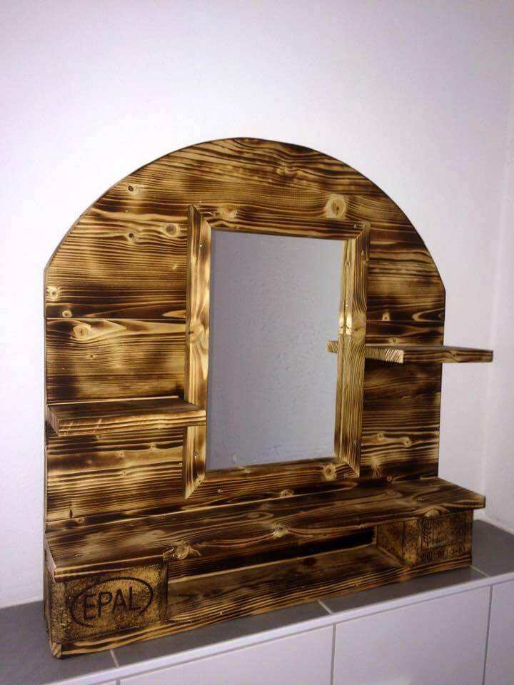 recycled pallet art style bathroom mirror shelf