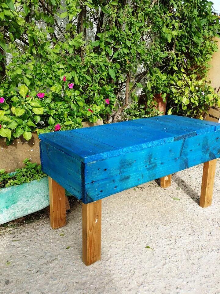 blue painted pallet garden bench