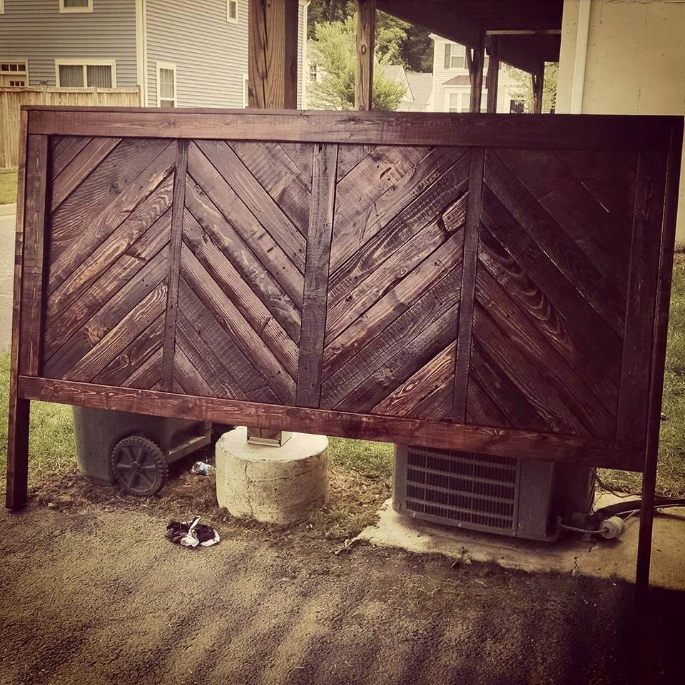 robust chevron pallet headboard