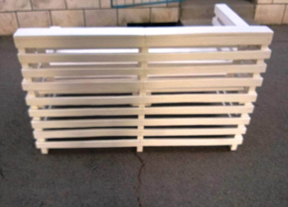 chic white pallet outdoor bench