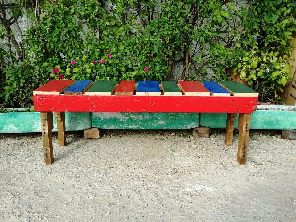 Colorful Wooden Pallet Bench