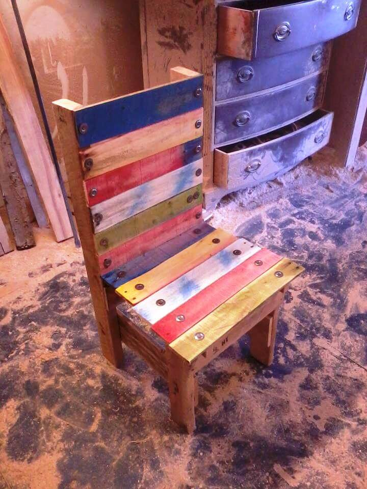 colorful wooden pallet chair