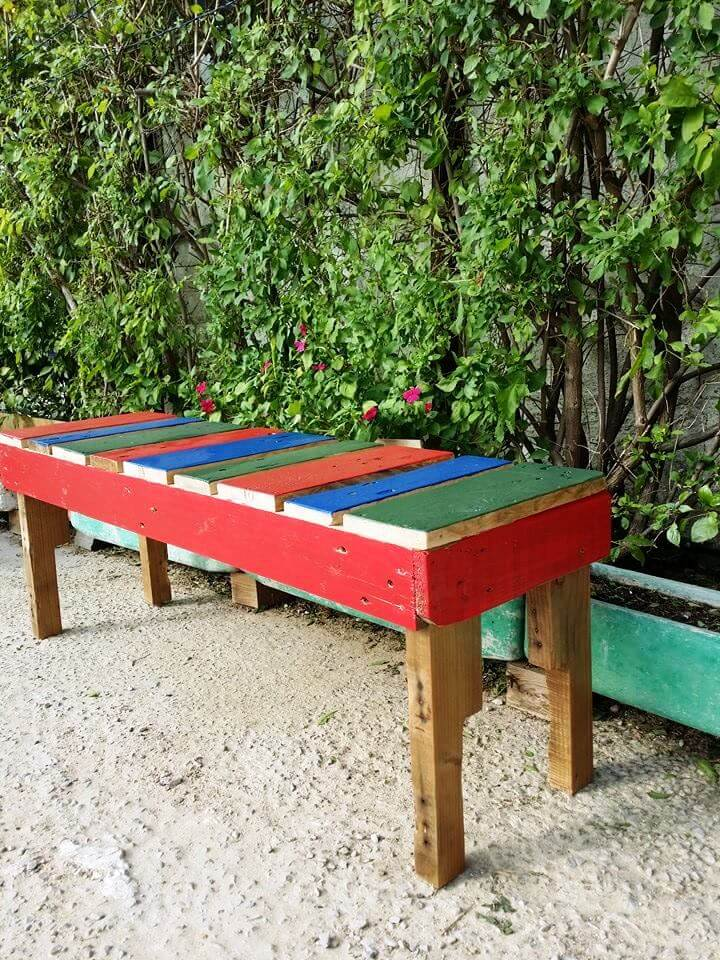 self-made pallet colorful garden bench