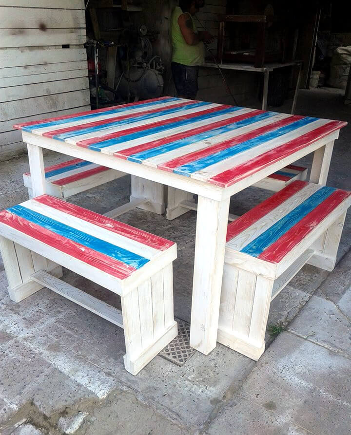 chic white pallet dining table with matching benches