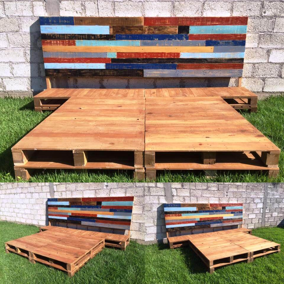 DIY Pallet Bed Frame with Headboard on Pallet Bed Design  id=38814