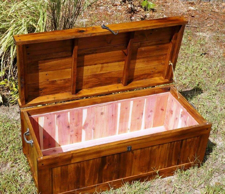 hand-built wooden pallet chest