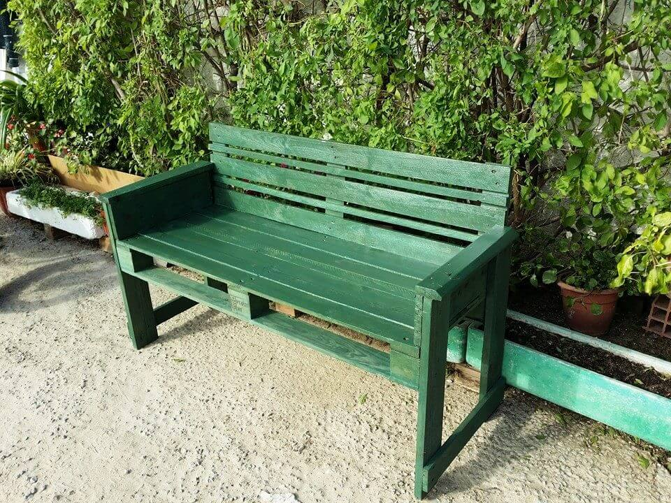 green painted pallet garden bench