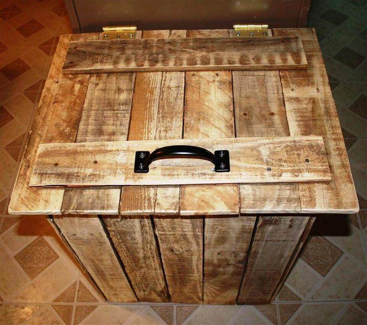 rustic wooden pallet trash bin