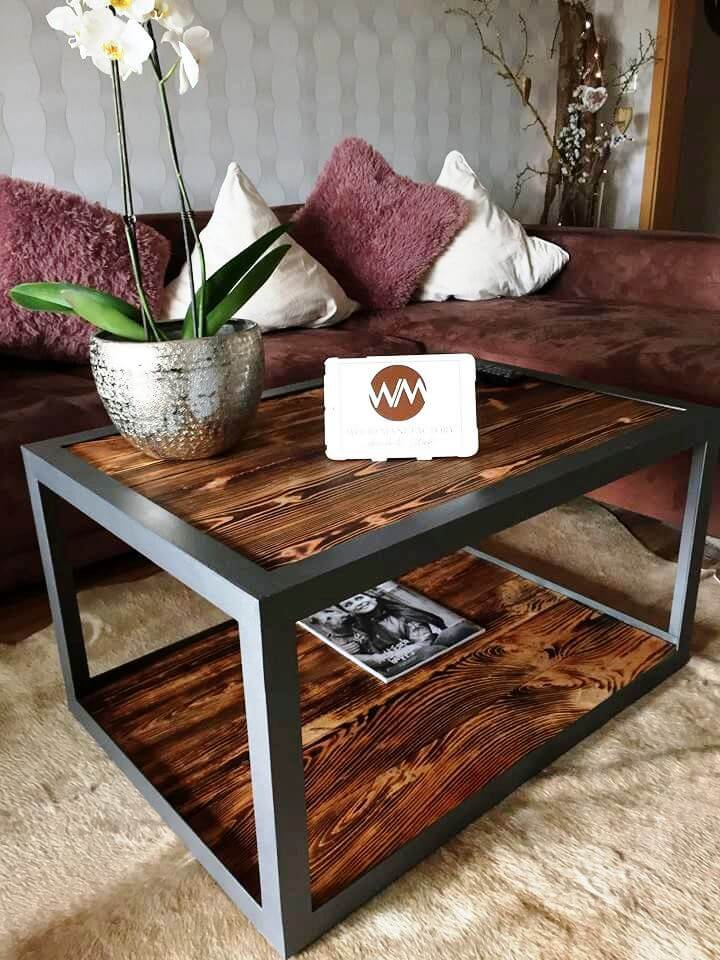 reclaimed industrial style pallet coffee table