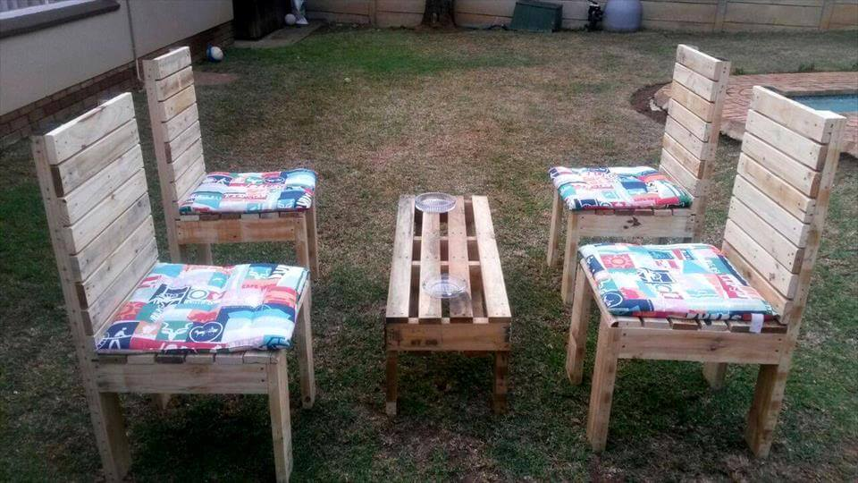 handmade pallet outdoor seating set