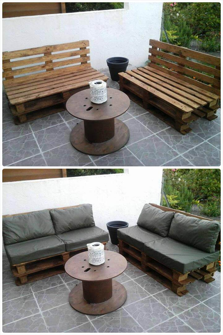 reclaimed pallet and spool patio sitting set