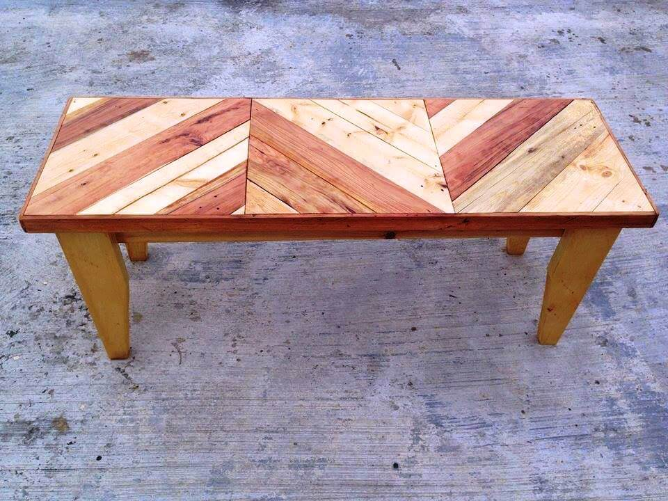 awesome pallet chevron bench