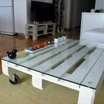 Pallet Coffee Table with Glass Top and Casters