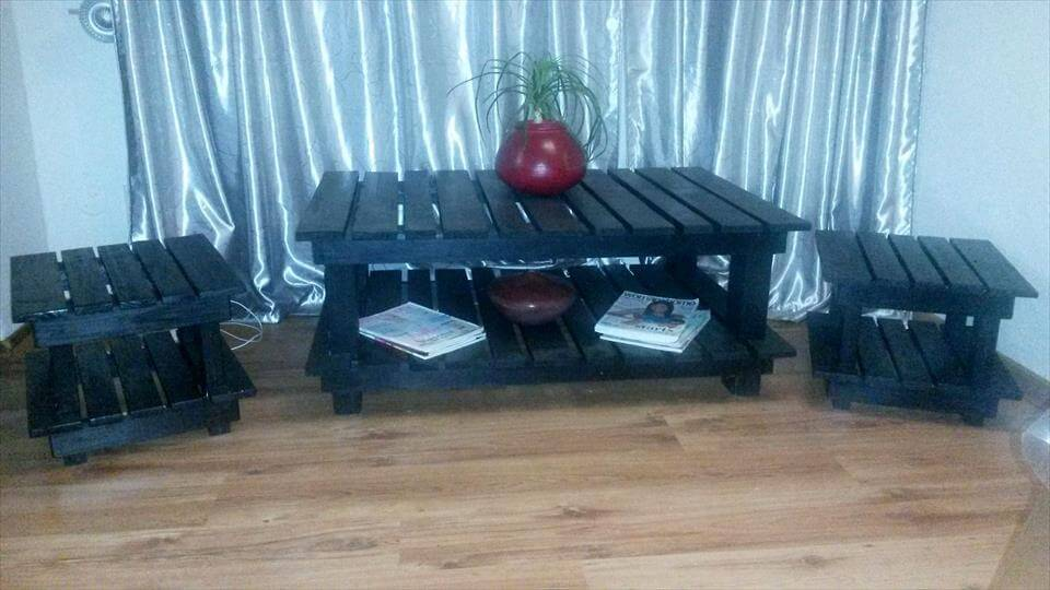 Recycled pallet coffee table and side tables