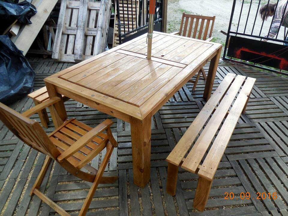wooden wooden pallet outdoor dining set
