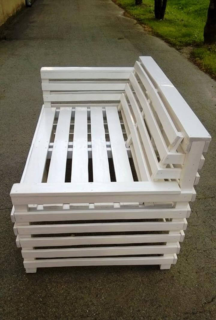 chic white pallet garden bench