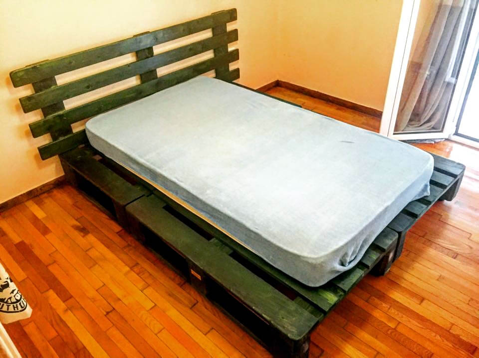 handmade pallet platform bed with headboard