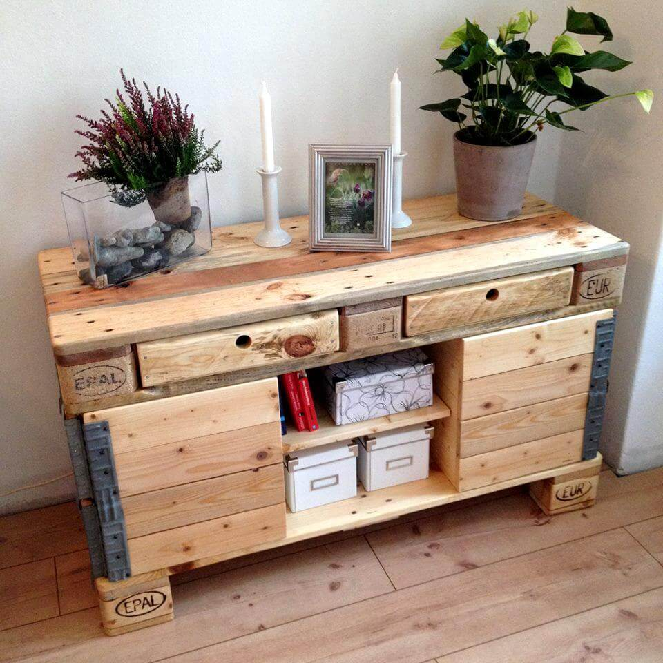 rustic in style pallet side board