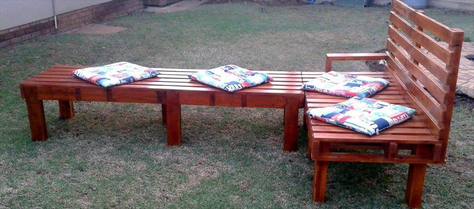 Re-purposed pallet sofa with bench