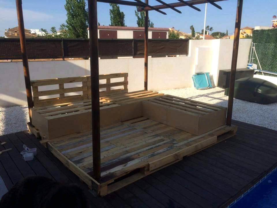 wooden pallet outdoor sofa with canopy