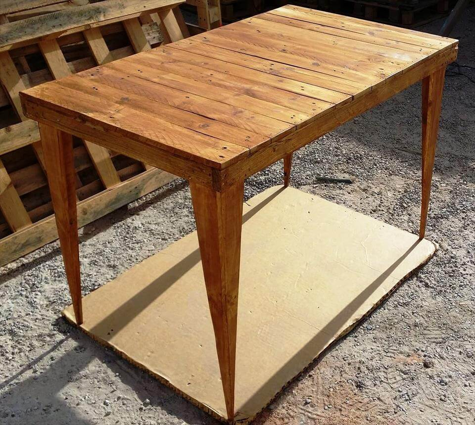 custom wooden pallet table with tapered legs