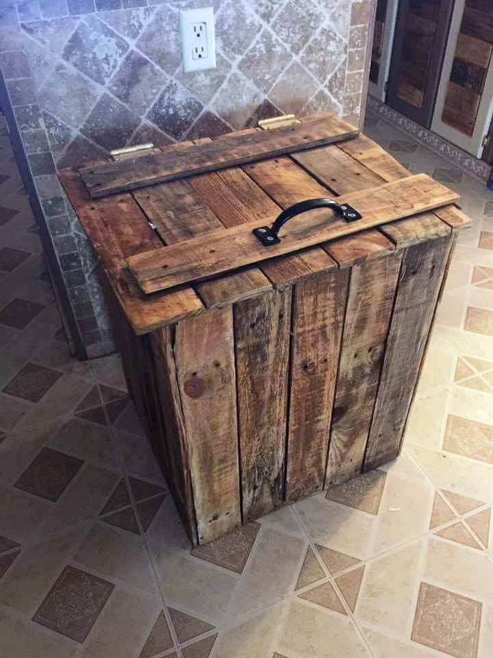 repurposed wooden pallet trash bin