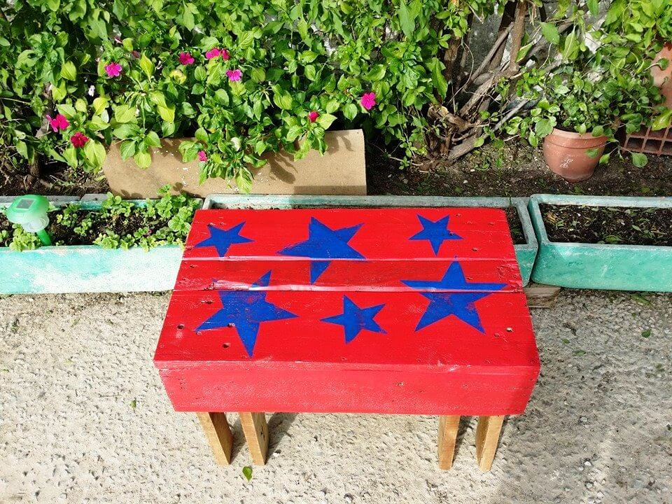 upcycled wooden pallet garden bench