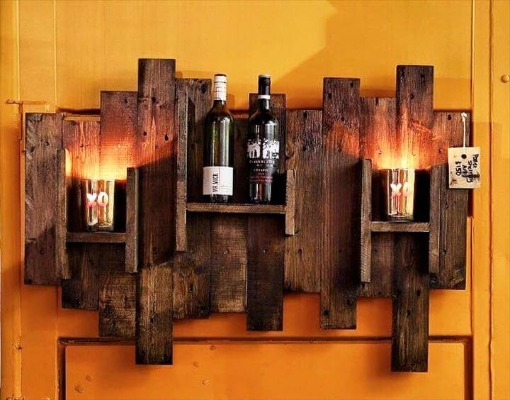 art style rustic pallet beverage bottle rack with lights