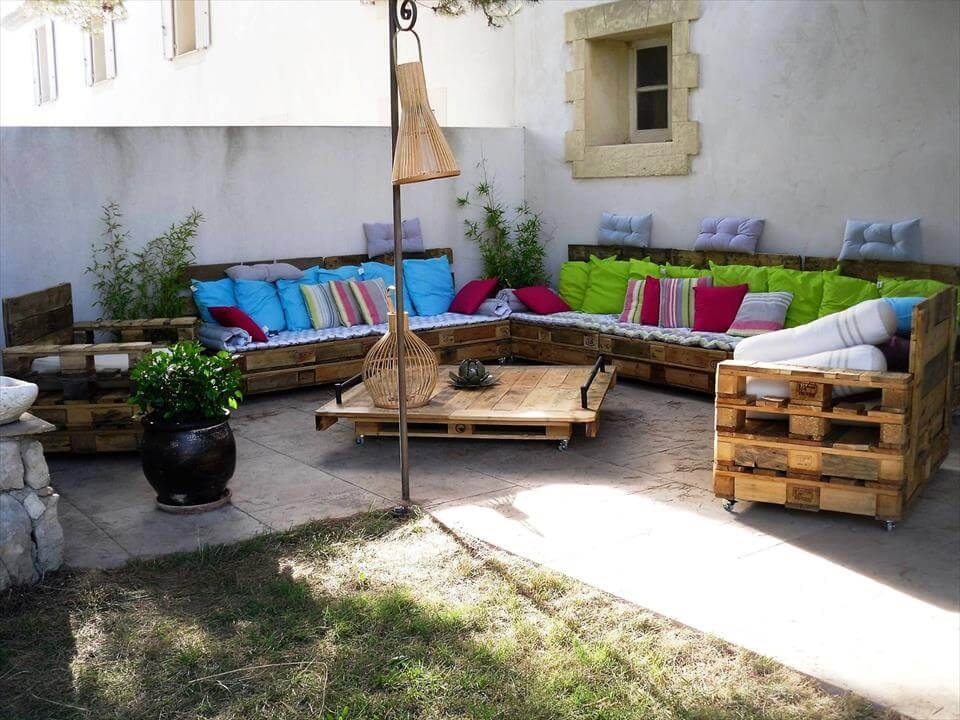 handmade wooden pallet patio sofa set