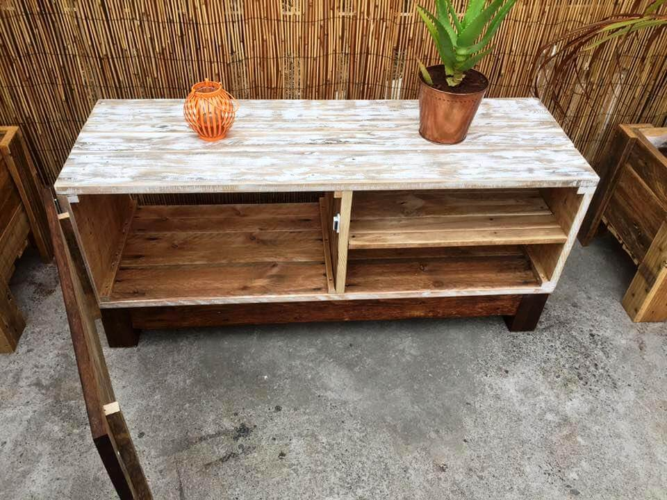self-made wooden pallet TV stand