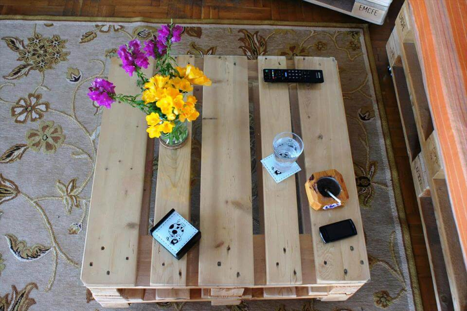 diy stacked pallet square coffee table