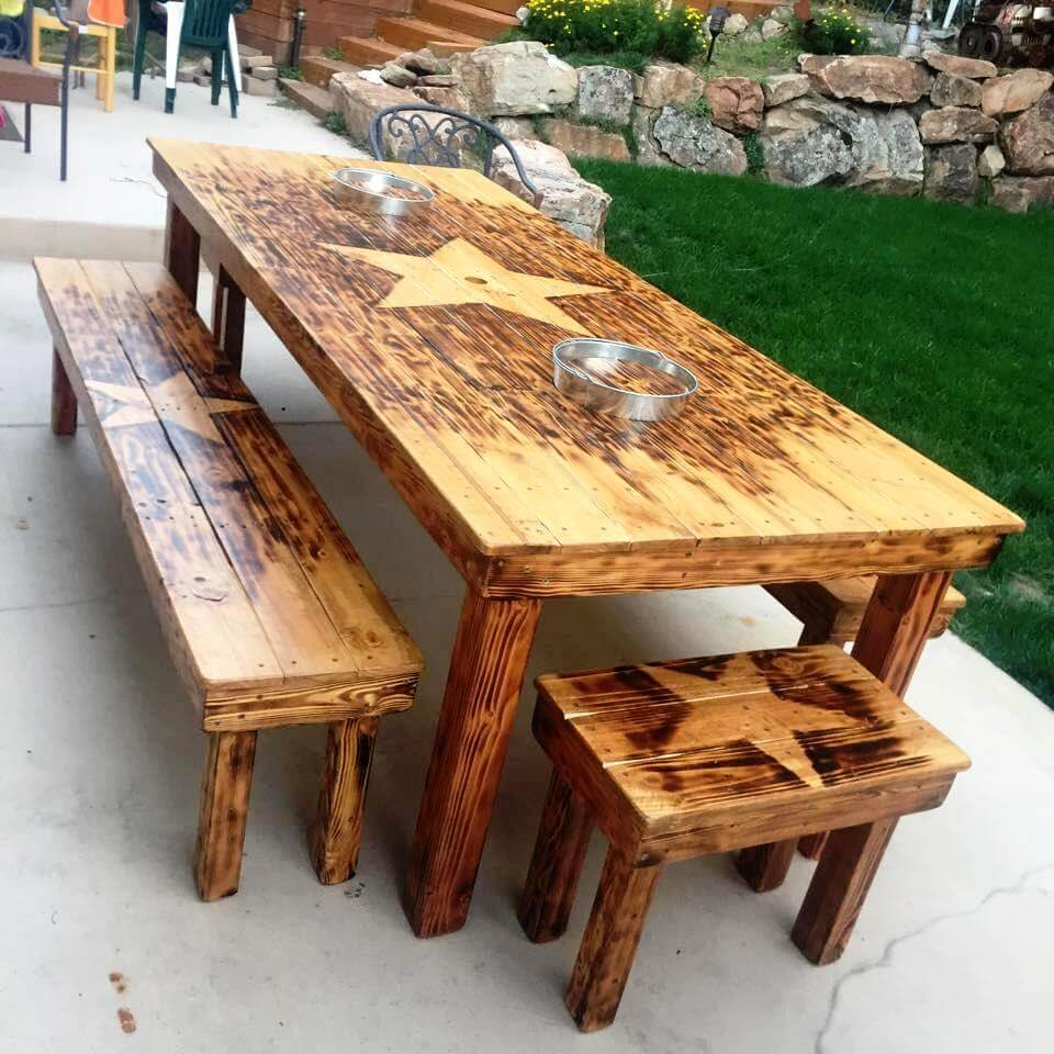 reclaimed wooden pallet outdoor dining table with matching benches
