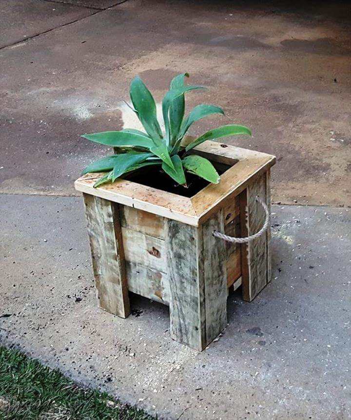 rustic pallet small square planter