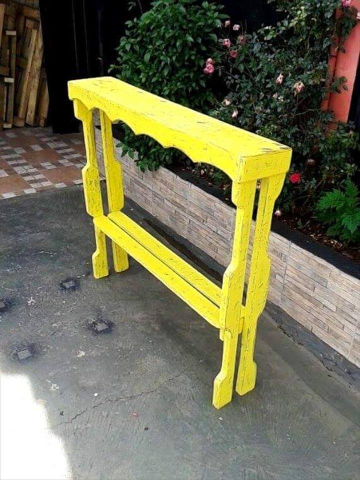 yellow stained pallet display table