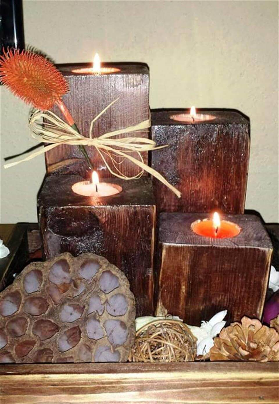 gorgeous and rustic pallet votives